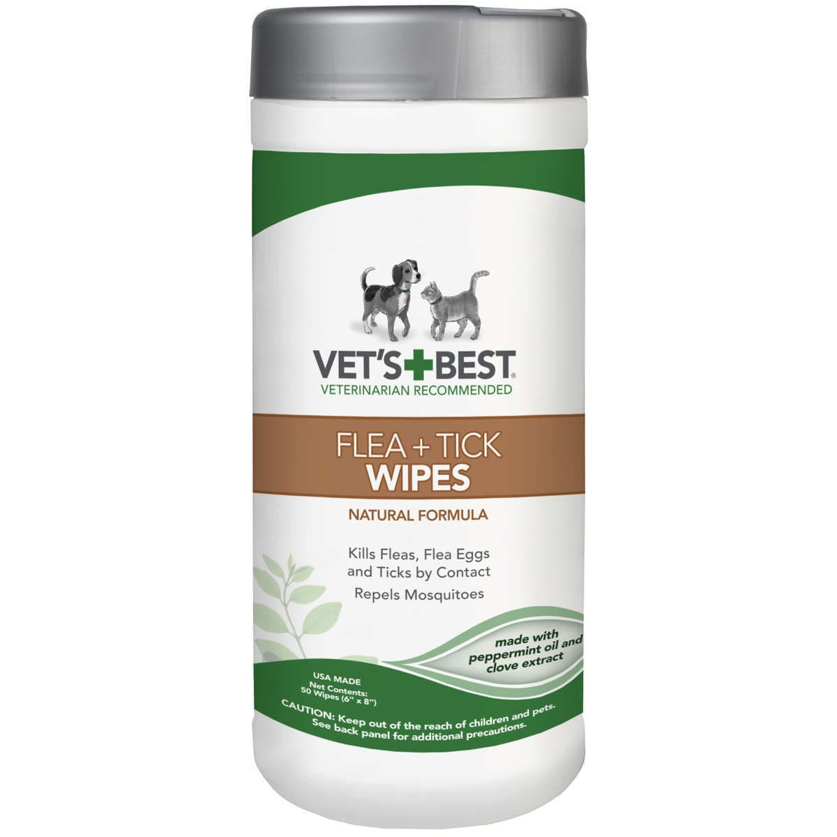 Vet's Best Dog Flea and Tick Wipes (50 count), Grey