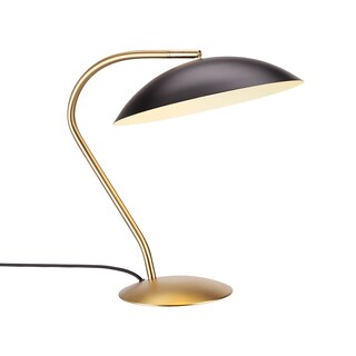 Hans Andersen Home Cobra Collection Brass-finished Steel 60-watt 1-light Table Lamp With Aluminum Bowl-shaped Shade
