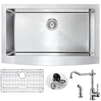 Anzzi Elysian Farmhouse Polished Chrome Stainless Steel 32-inch Single Bowl Kitchen Sink and Locke Faucet Set