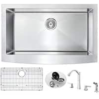 ANZZI Elysian Farmhouse Stainless Steel 32-inch Single Bowl Kitchen Sink and Soave Brushed Nickel Faucet Set