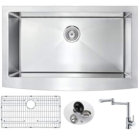ANZZI Elysian Farmhouse Stainless Steel 32-inch 0-Hole Kitchen Sink and Manis Polished Chrome Faucet Set