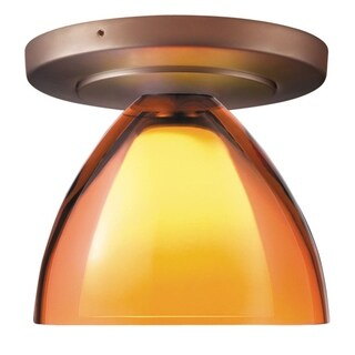 Bruck Lighting Rainbow 2 1-LED Bronze Ceiling Mount with Orange Glass Shade