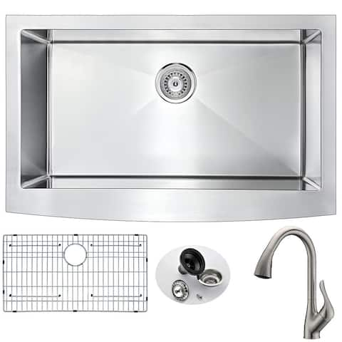 ANZZI Elysian Farmhouse Stainless Steel 32-inch 0-hole Kitchen Sink and Faucet Set with Accent Brushed Nickel Faucet