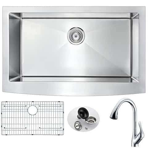ANZZI Elysian Farmhouse Stainless Steel 32-inch 0-hole Kitchen Sink with Accent Polished Chrome Faucet