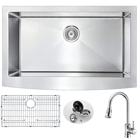 Anzzii Elysian Farmhouse Polished Chrome Stainless Steel 32-inch 0-Hole Kitchen Sink and Sails Faucet Set
