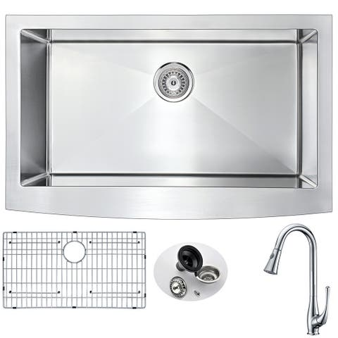 ANZZI Elysian Farmhouse Polished Chrome Stainless Steel 32-inch 0-hole Kitchen Sink and Faucet Set with Singer Faucet