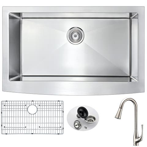 ANZZI Elysian Farmhouse Stainless Steel 32-inch 0-Hole Kitchen Sink and Singer Brushed Nickel Faucet Set
