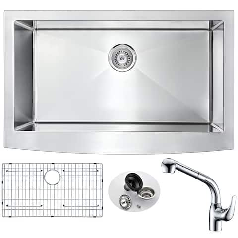 ANZZI Elysian Farmhouse Stainless Steel 32-inch 0-hole Kitchen Sink and Faucet Set with Harbour Faucet in Polished Chrome