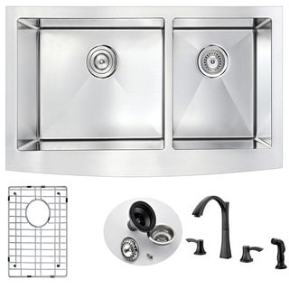 Anzzi Elysian Stainless Steel 36 in. Farmhouse Kitchen Sink with Oil Rubbed Bronze Faucet