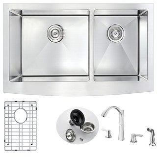 Anzzi Elysian Farmhouse-Style Stainless Steel 36-inch Double Kitchen Sink with Faucet Set