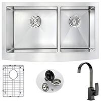 Anzzi Elysian Stainless Steel 36 in. Double Farmhouse Kitchen Sink with Oil Rubbed Bronze Faucet