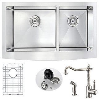 Anzzi Elysian Stainless Steel 36 in. Double Kitchen Sink with Locke Faucet in Brushed Nickel