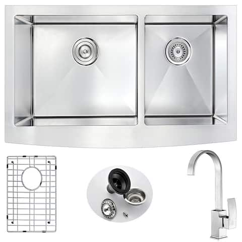 """ANZZI Elysian 36"""" Farmhouse Double Bowl Kitchen Sink with Nickel Opus Faucet"""