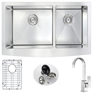 Anzzi Elysian Farmhouse Stainless Steel 36 in. Double Kitchen Sink with Opus Faucet