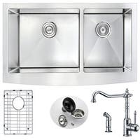 Anzzi Elysian Farmhouse Stainless Steel 36 in. Double Kitchen Sink and Locke Faucet Set