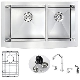 Anzzi Elysian Silvertone Stainless Steel Farmhouse Kitchen Sink and Faucet