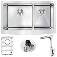ANZZI Elysian Stainless Steel 36-inch Double Bowl Farmhouse Kitchen Sink with Timbre Faucet in Brushed Nickel