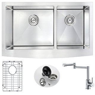 Anzzi Elysian Stainless Steel 36-inch Double Bowl Farmhouse Kitchen Sink With Manis Polished Chrome Faucet