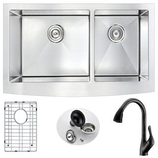 ANZZI Elysian Farmhouse Stainless Steel 36-inch Double Bowl Kitchen Sink and Oil Rubbed Bronze Faucet