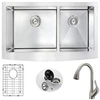 ANZZI Elysian Steel Double-Bowl Kitchen Sink w/ Nickel Accent Faucet