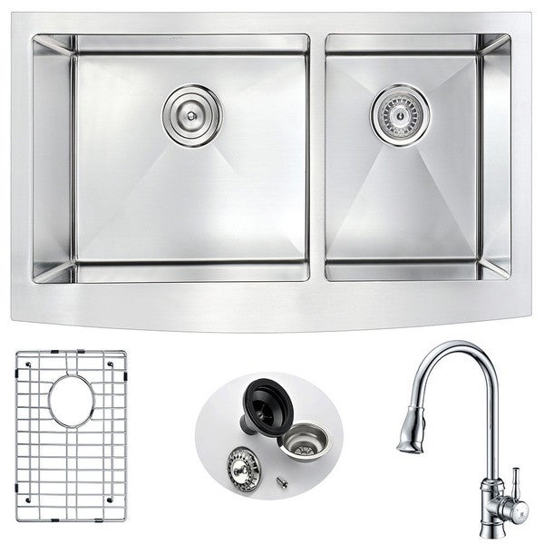 """ANZZI Elysian 36"""" Farmhouse Double Bowl Kitchen Sink with Chrome Sails Faucet. Opens flyout."""