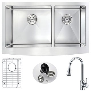 ANZZI Elysian Farmhouse Stainless Steel 36-inch Double Bowl Kitchen Sink and Sails Polished Chrome Faucet Set