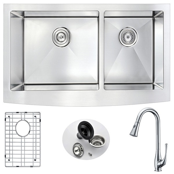 Anzzi Elysian Silvertone Stainless Steel Double-bowl Kitchen Sink and Faucet Set