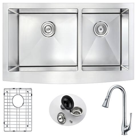 "ANZZI Elysian 36"" Farmhouse Double Bowl Kitchen Sink with Chrome Singer Faucet"