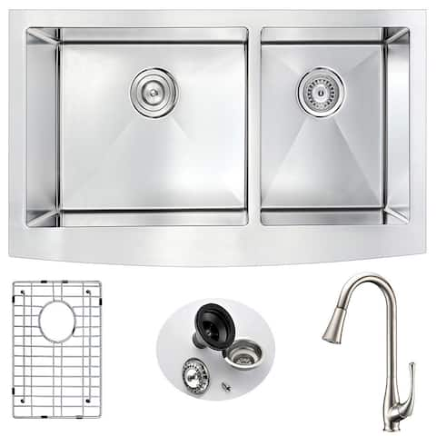 """ANZZI Elysian 36"""" Farmhouse Double Bowl Kitchen Sink with Nickel Singer Faucet"""