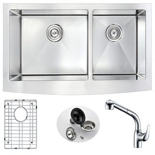 Anzzi Elysian 60/40 Stainless Steel 36 in. Double Kitchen Sink with Harbour Faucet Set