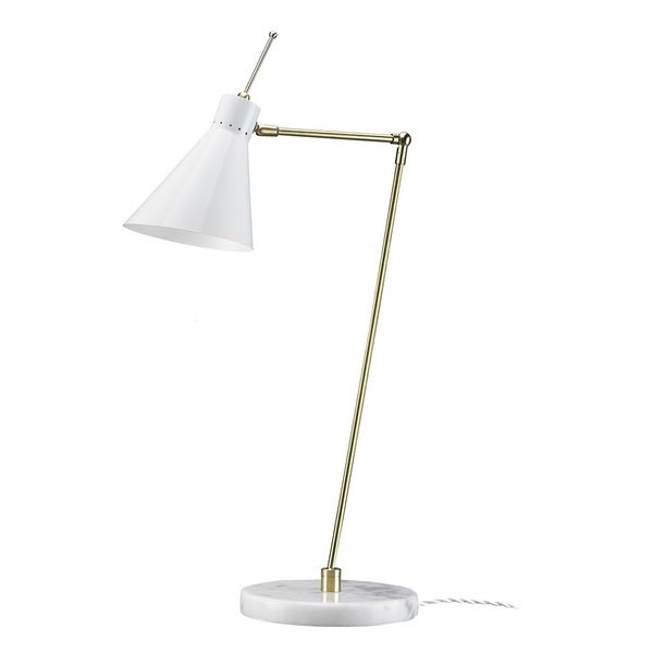 Hans Andersen Home Birgsr Marble and Brass 60-watt 1-light Table Lamp With Steel Cone Shade
