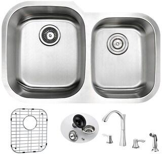 Anzzi Moore Undermount Silvertone Stainless Steel/Satin Double-bowl Kitchen Sink