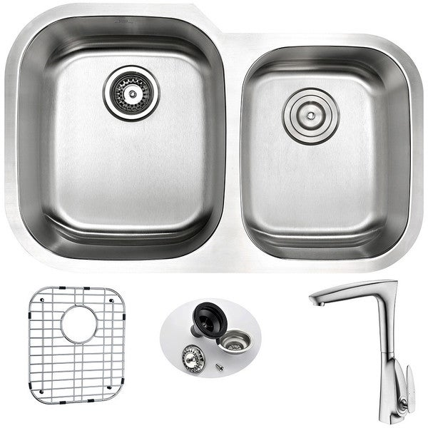 Anzzi Moore Stainless Steel 32-inch Undermount Double Bowl Kitchen ...
