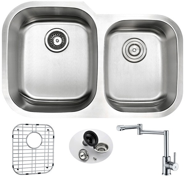 Anzzi Moore Stainless-steel 32-inch Undermount Double-bowl Kitchen Sink and Faucet Set