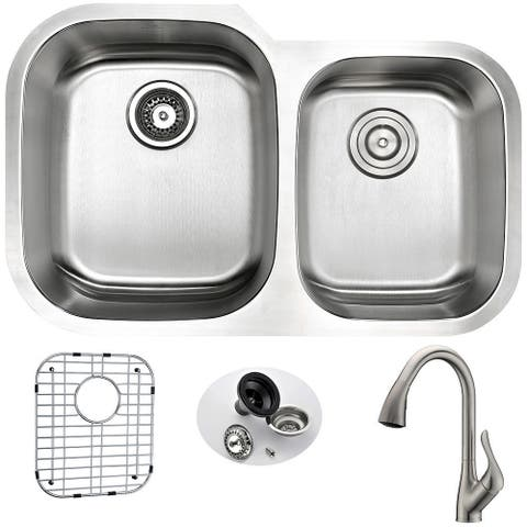 ANZZI Moore Stainless Steel and Brushed Nickel Accent Faucet 32-inch Undermount Double-bowl Kitchen Sink