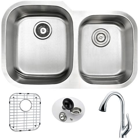 ANZZI Moore Silvertone Stainless Steel Undermount Double-bowl Kitchen Sink and Faucet Set