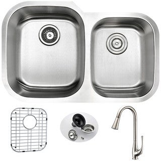 Anzzi Moore Stainless Steel 32-inch Double Bowl Undermount Kitchen Sink With Singer Brushed Nickel Faucet