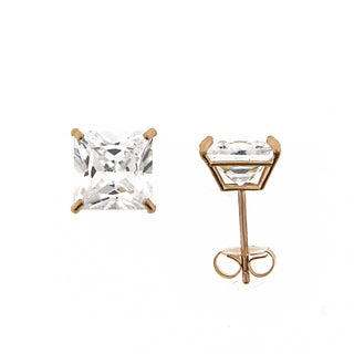 Meredith Leigh 14k Yellow Gold CZ Square Studs (8 mm)