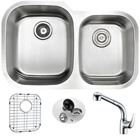 ANZZI MOORE Undermount Stainless Steel 32 in. Double Bowl Kitchen Sink and Faucet Set with Harbour Faucet in Polished Chrome