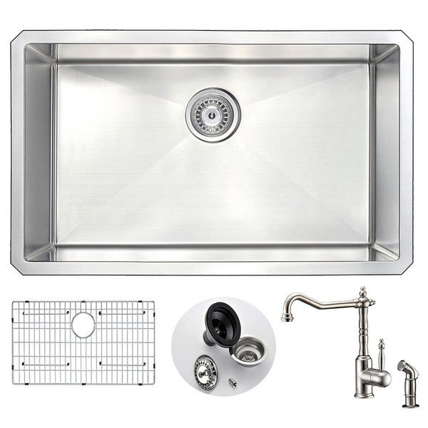 Anzzi Vanguard Stainless Steel 30-inch 0-hole Undermount Kitchen ...