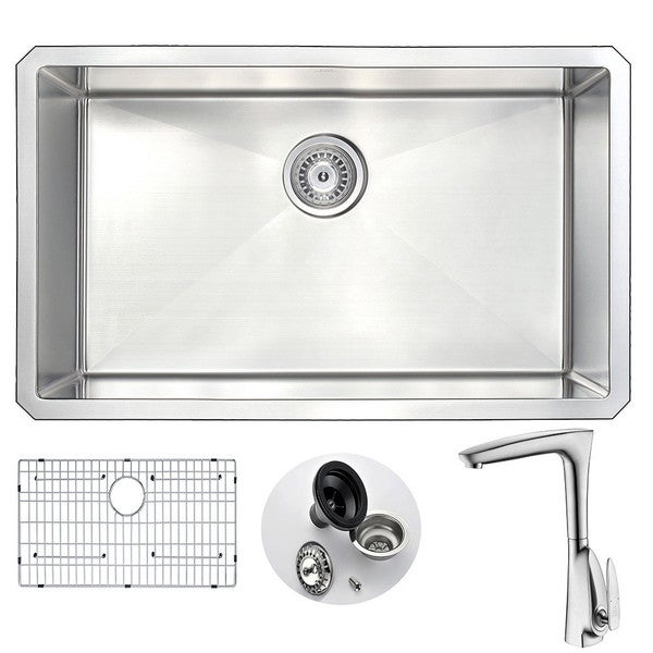 Anzzi Vanguard Stainless Steel and Brushed Nickel Timbre Faucet 30-inch 0-hole Undermount Single-bowl Kitchen Sink