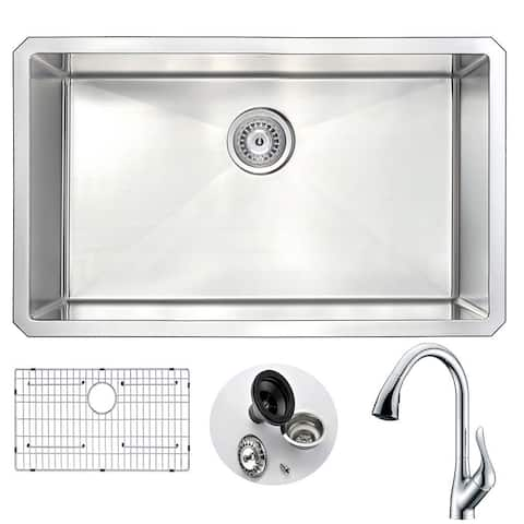 """ANZZI Vanguard 30"""" Undermount Single Bowl Kitchen Sink with Chrome Accent Faucet"""
