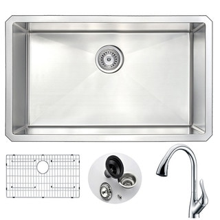 Anzzi Vanguard Silvertone Stainless Steel Single-bowl Kitchen Sink and Faucet Set