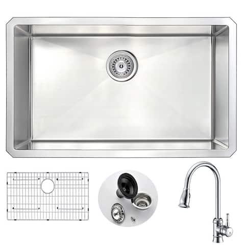 "ANZZI Vanguard 30"" Undermount Single Bowl Kitchen Sink with Chrome Sails Faucet"