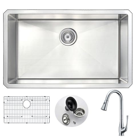 "ANZZI Vanguard 30"" Undermount Single Bowl Kitchen Sink with Chrome Singer Faucet"