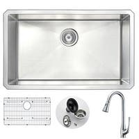 Anzzi Vanguard Stainless Steel and Polished Chrome Singer Faucet 30-inch Undermount Single-bowl Kitchen Sink