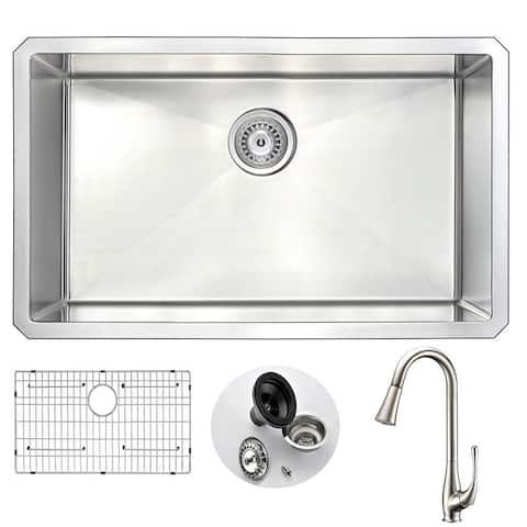 "ANZZI Vanguard 30"" Undermount Single Bowl Kitchen Sink with Nickel Singer Faucet"