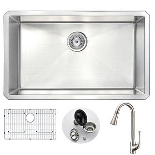 Anzzi Vanguard Stainless Steel and Brushed Nickel Singer Faucet 30-inch Undermount Kitchen Sink