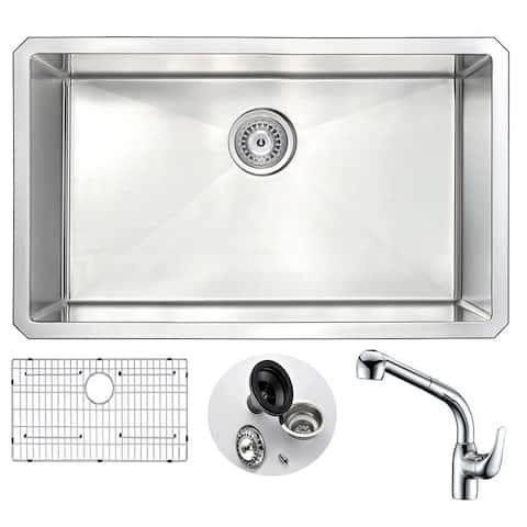 "ANZZI Vanguard 30"" Undermount Single Bowl Kitchen Sink with Chrome Harbour Faucet"