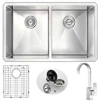 Anzzi Vanguard Undermount Stainless Steel 32-inch Double Bowl Kitchen Sink and Faucet Set with Opus Faucet in Brushed Nickel